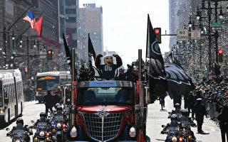 """2月8日,费城老鹰队吉祥物""""Swoop""""带领庆祝队伍开始游行。(Rich Schultz/Getty Images)"""