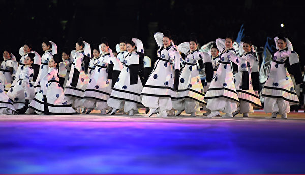 PYEONGCHANG-GUN, SOUTH KOREA - FEBRUARY 09: Dancers perform during the Opening Ceremony of the PyeongChang 2018 Winter Olympic Games at PyeongChang Olympic Stadium on February 9, 2018 in Pyeongchang-gun, South Korea. (Photo by Quinn Rooney/Getty Images)