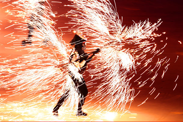 PYEONGCHANG-GUN, SOUTH KOREA - FEBRUARY 09: Fireworks explode around a performer during the Opening Ceremony of the PyeongChang 2018 Winter Olympic Games at PyeongChang Olympic Stadium on February 9, 2018 in Pyeongchang-gun, South Korea. (Photo by Lars Baron/Getty Images)