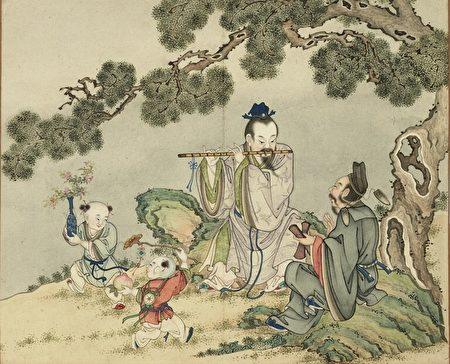《欢联庆节.韩湘子曹国舅二仙会乐》,台北国立故宫博物院藏。(公有领域)