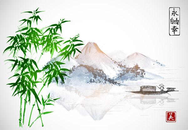 竹,渔船和岛与白色背景上的山。 传统的东方墨水画