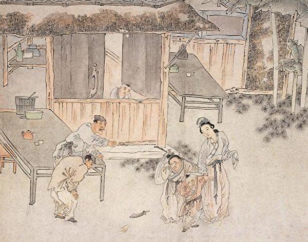 曹攄不顧眾人的反對,釋放了死刑犯,讓他們暫時回家與家人團聚。清代畫家蘇六朋作品。(公有領域)