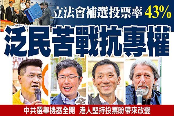 香港立法会补选 投票率43% 泛民苦战抗专权