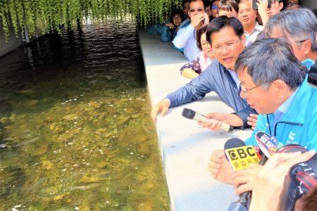 台北市长柯文哲(前)25日南下考察台中绿川水利工程,由台中市长林佳龙(后)亲自接待。
