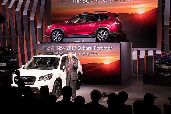 Subaru发表2019年新款Forester跨界旅行车型,让这辆销售最佳的Subaru车款更具魅力。(戴兵/大纪元)