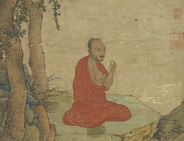 道行高深的僧人,治好了太子的眼睛。圖為元 趙孟頫《達摩像》,台北國立故宮博物院藏。(公有領域)