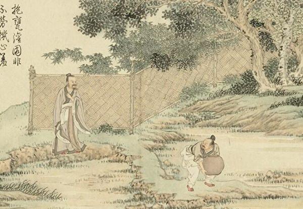 店里的两个人发现地下埋著一个大瓮。图为清 金廷标《人物事迹.汉阴抱瓮》。(公有领域)
