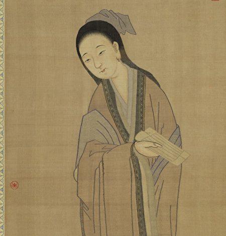 清朝婦人丁氏為捍衛名節而殺人。圖為清仿舊緙絲美人(公有領域)。
