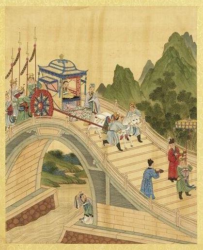 古代的君主要經常出巡以察訪民情,齊閔王就在出巡的時候認識了宿瘤女。清陳士倌《聖帝明王善端錄(漢)•漢文帝二》。(公有領域)