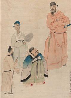"""晏子说:""""我听说,休掉年老的妻子称为乱;纳娶年少的美妾称为淫。如果人人见色忘义,享富贵就背弃人伦,称为逆道。""""图为清 罗聘(1733-1799)《晏子使楚》 。(公有领域)"""