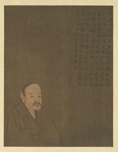"""谢灵运诗文绘画创作皆有所成就,也精通佛学史学,他的诗文和书法被宋文帝刘义隆称赞为""""二宝""""。《历代圣贤半身像.谢灵运》。(公有领域)"""
