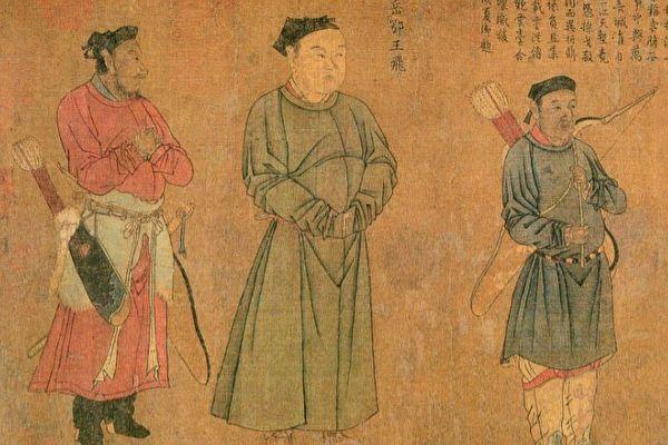 圖為宋 劉松年繪《中興四將岳飛、張俊、韓世忠、劉光世圖》局部。中為岳飛。(公有領域)