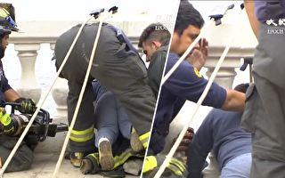 4岁男孩海边做荒唐事 消防员大费周章 这样救他出来