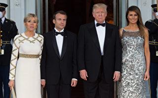 組圖:川普夫婦首辦國宴 歡迎馬克龍夫婦