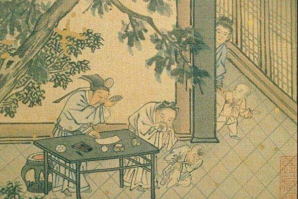 图为明 戴进《太平乐事册.婴戏》,台北国立故宫博物院藏。(公有领域)
