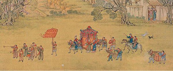 清院本《清明上河图》之婚礼娶亲场景。(公有领域)