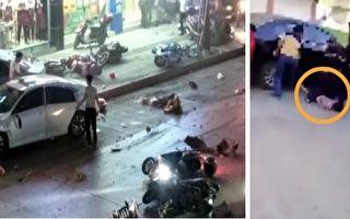 4月15日、16日,廣西河池連續發生兩起交通事故。其中有女童(右圖)被轎車從身上輾壓過去。(視頻截圖/大紀元合成)