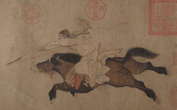 齐军万名弓弩手早已埋伏于马陵道两侧,只待魏军到来。图为五代十国 李赞华《获鹿图》。(公有领域)