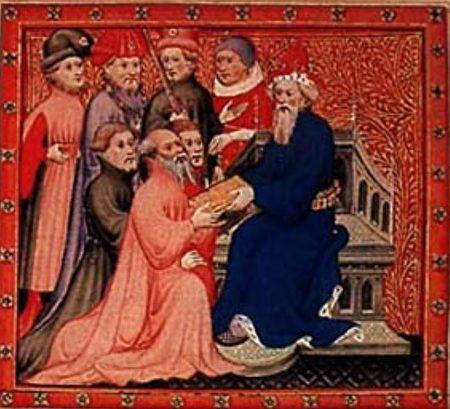 圖為《馬可•波羅遊記》插圖:馬可•波羅和忽必烈汗在大都的王廷。(公有領域)