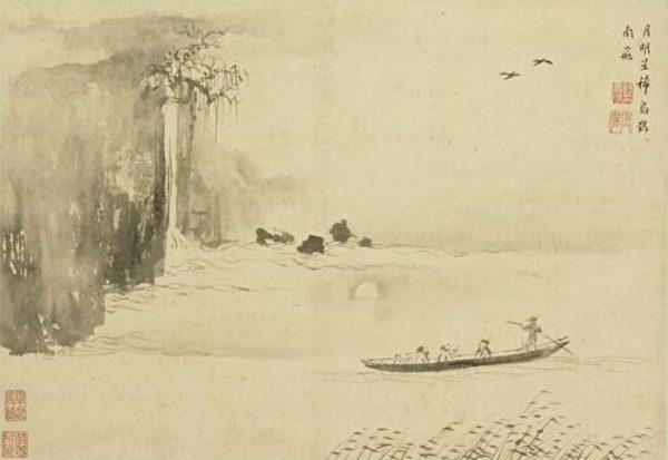 图为明 程嘉燧《山水册.月明星稀乌鹊南飞》,台北国立故宫博物院藏。(公有领域)
