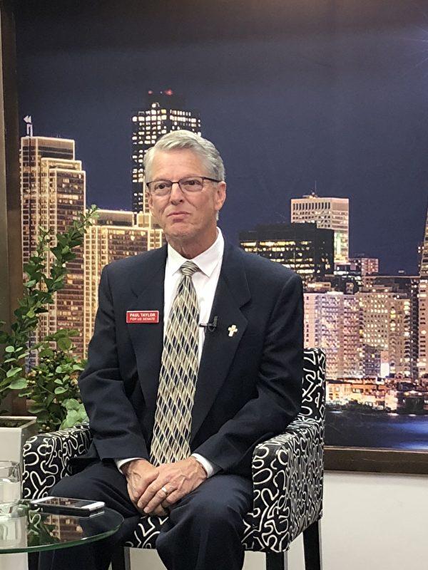 4月13日,正在角逐加州聯邦參議員席位的共和黨參選人保羅·泰勒(Paul Taylor)接受新唐人專訪。(大紀元)