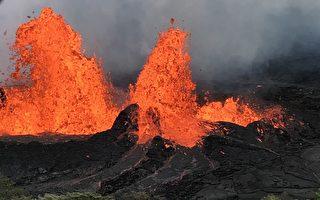 夏威夷火山熔岩流到地熱電站附近