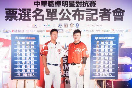 中华职棒4日公布明星赛先发名单,富邦悍将队高国辉(左)、统一狮队郑铠文(右)公布5项战技选手名单。