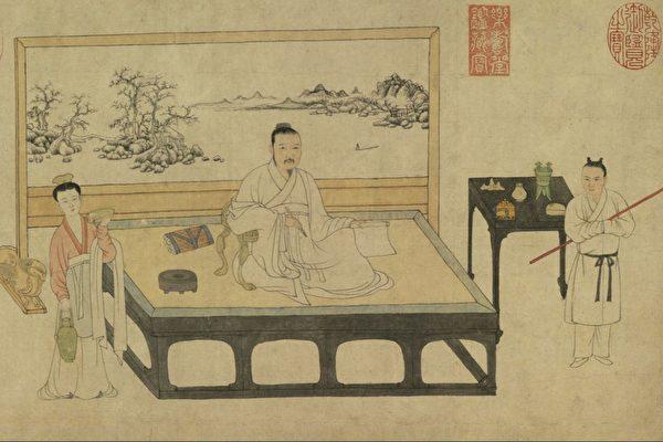 圖為 元張雨題《倪瓚像》,示意圖。(公有領域)