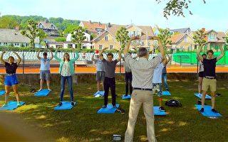 瑞典著名小城 高中生体育课学炼法轮功