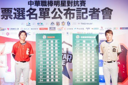 中职明星赛4日公布明星赛先发名单,由中信兄弟队彭政闵(恰恰)(右)担任明星白队队长,Lamigo桃猿队陈禹勋(左)担任红队队长。