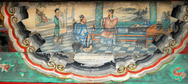 根据《三国演义》中隆中对情节绘制的颐和园长廊彩绘。(公有领域)