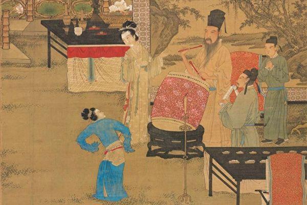 图为明 唐寅画《韩熙载夜宴图》,台北国立故宫博物院藏。(公有领域)