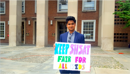 目前就读于史岱文森高中、现年16岁的13选区州参议员参选人乔杜里(Tahseen Chowdhury):根本问题是要提高中小学教育质量。