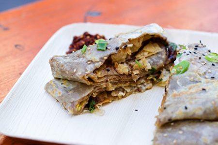 老金煎饼的传统素食煎饼。