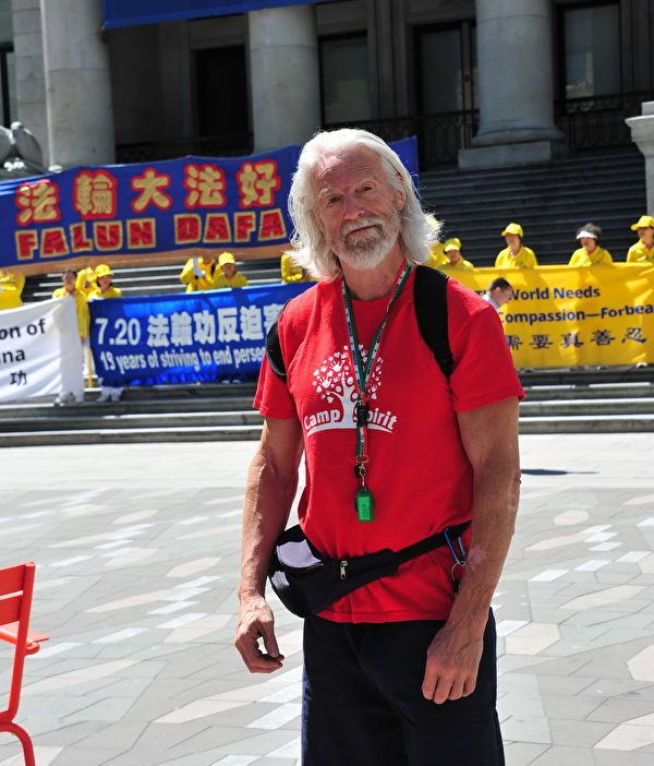 """独立人权记者Braid Ted说: """"法轮功学员的反迫害活动是非常重要的事件""""。(田园/大纪元)"""