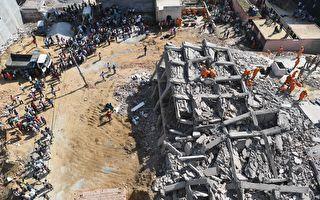 印度大楼砸大楼 两楼全坍塌 6死50被埋