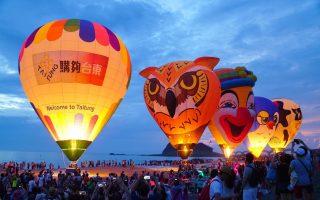 三仙台日出光雕 五颗热气球迎曙光