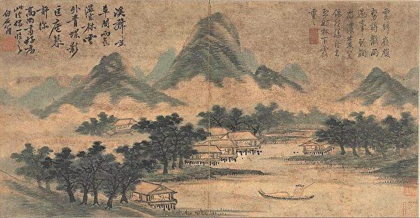 圖為明 沈周《山水冊.仿高克恭雨景》,台北國立故宮博物院藏。(公有領域)