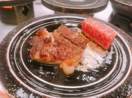 古汤温泉内的会席料理包含佐贺牛。
