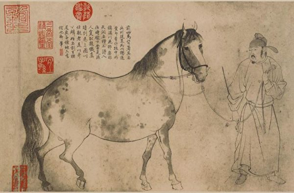 三国时期魏国人鲍子都,有一天傍晚,正在乡野骑马赶路,偶遇一位书生。图为宋 李公麟《五马图卷》。(公有领域)