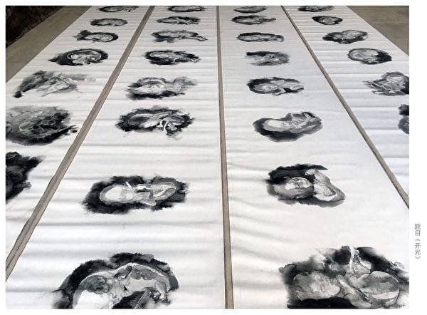 大陆人权艺术家王鹏的画作:《生与死的距离》。抗议中共暴力计划生育导致中国众多婴儿身亡。(王鹏提供)