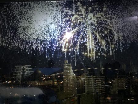 佐贺县厅投影光雕秀一景。