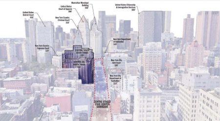 """四所社区监狱中,以曼哈顿社区监狱最""""摩天"""",高达432.5英尺,近132米高。"""
