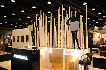 在溫哥華室內設計展IDS上,由Pravada Floor展出的設計造型。(童宇/大紀元)