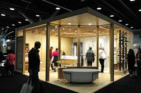 在溫哥華室內設計展IDS上,由Cantu Bathrooms & Hardware展出的衛浴設計。(童宇/大紀元)