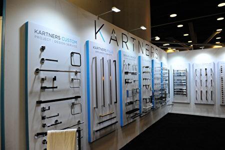 在温哥华室内设计展IDS上,由Kartners展出的高端卫浴配件。(童宇/大纪元)