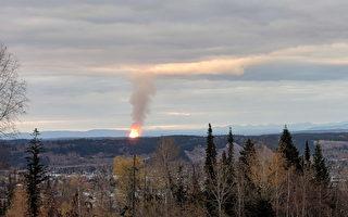 2018年10月9日晚,為卑詩全省供氣的加拿大恩橋天然氣公司(Enbridge)的主管道在位於卑詩北部喬治王子城(Prince George)附近突發爆炸。(加通社)
