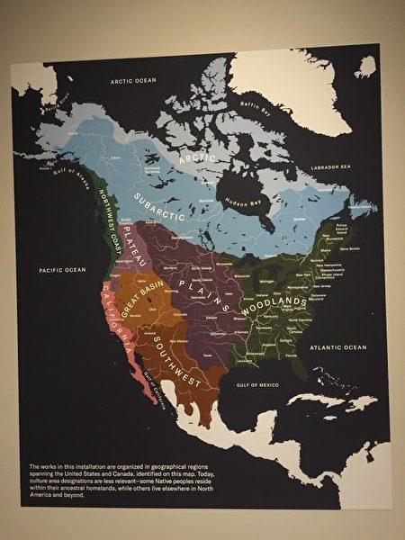 """""""美洲原住民艺术展""""的艺术品地理位置图。"""