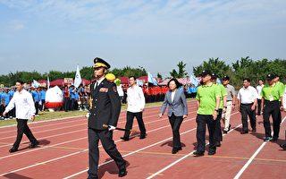 總統出席消防競賽 天國樂團引導運動員進場