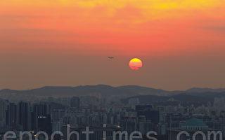 組圖:首爾夕照餘暉 彩霞滿天